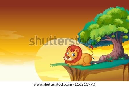 illustration of lion in a