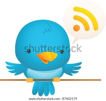 Illustration of Little Blue Bird talk
