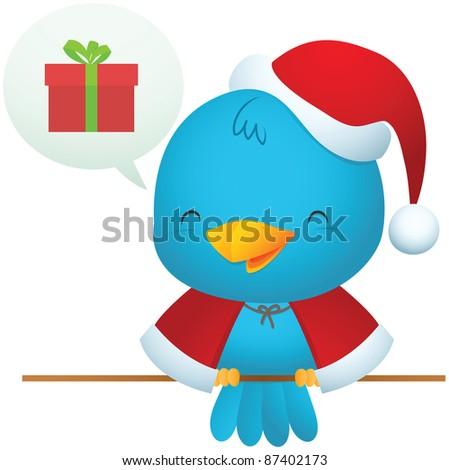 Illustration of Little Blue Bird wearing Santa uniform
