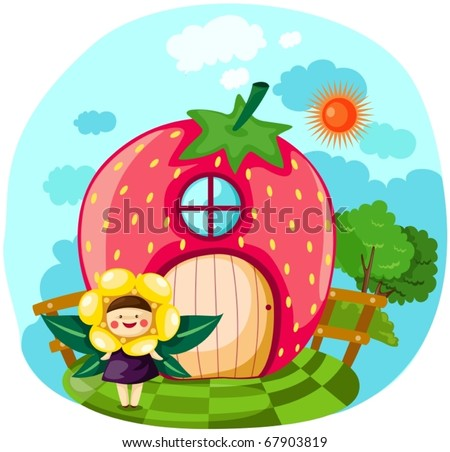 illustration of little fairy girl with strawberry house
