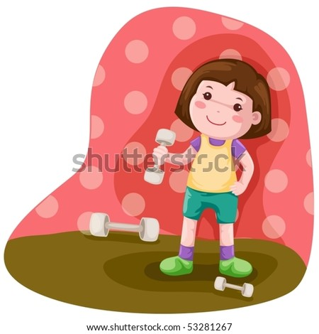 illustration of  little girl lifting weight