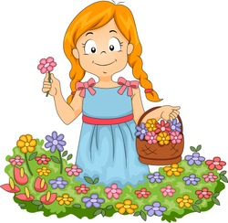 Illustration of Little Kid Girl with Basketful of Flowers Picking Flowers in a Garden