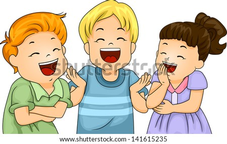 Illustration of Little Male and Female Kids Laughing Hard