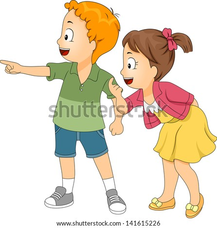 Illustration of Little Male and Female Kids Looking and Pointing Left