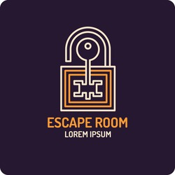 Illustration of lock and key. Real-life room escape and quest game emblem.