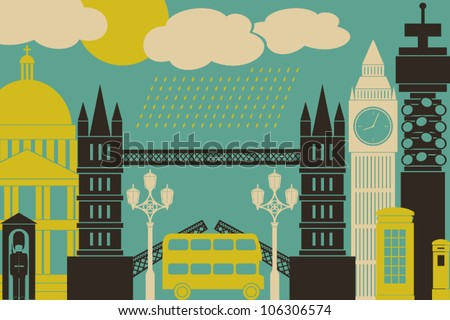 Illustration of London symbols and landmarks. - stock vector