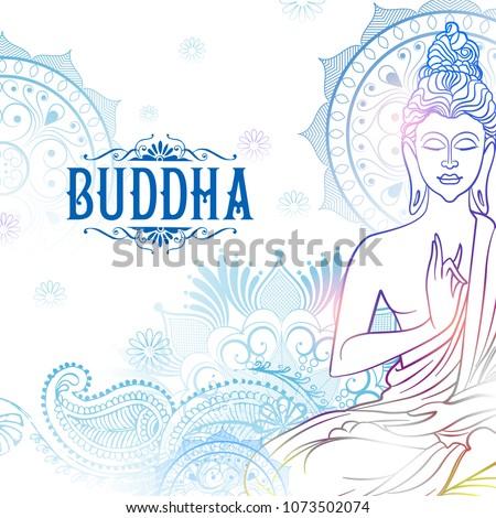 illustration of Lord Buddha in meditation for Buddhist festival of Happy Buddha Purnima Vesak Stockfoto ©