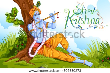 illustration of lord krishana