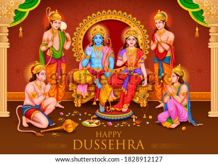 illustration of Lord Ram, Sita, Laxmana, Hanuman, Bharat and Shatrughna in Ram Darbar for Dussehra Navratri festival of India poster Stockfoto ©
