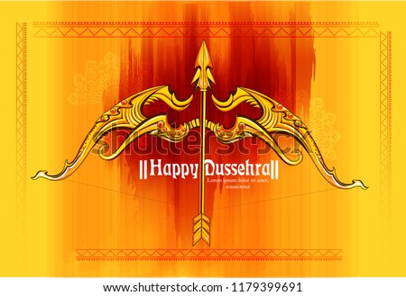 illustration of Lord Rama killing Ravana in Navratri festival of India poster for Happy Dussehra