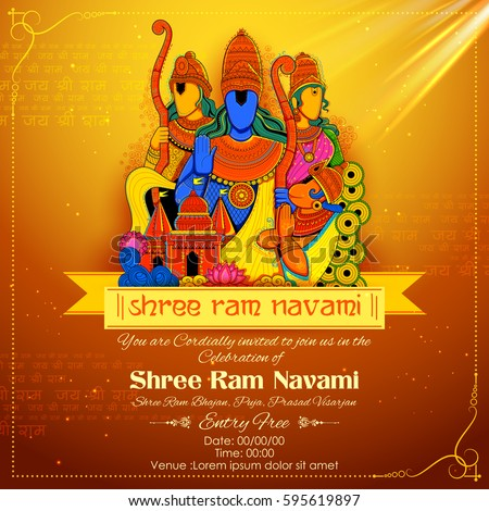 illustration of Lord Rama, Sita, Laxmana, Hanuman and Ravana in Ram Navami with hindi text Jai Shree Ram meaning Hail Lord Ram