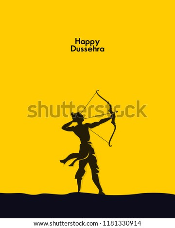 illustration of Lord Rama with arrow. Happy Dussehra
