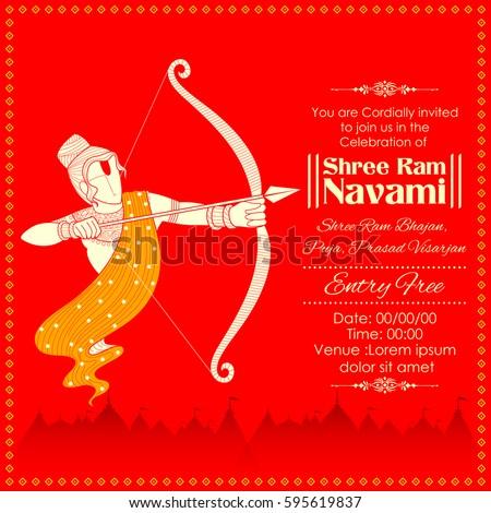 illustration of Lord Rama with bow arrow killing Ravana in Ram Navami