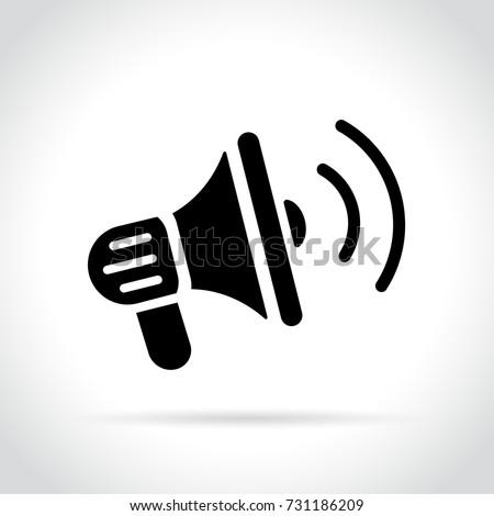 Illustration of loud speaker icon on white background