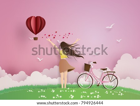Illustration of love and valentine day,Beautiful girl stretches her arms on the sky with paper heart hot air balloon.paper art and  digital craft style.