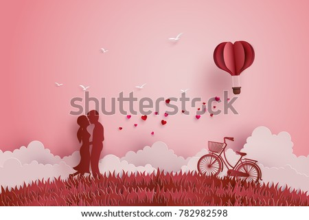 Illustration of Love and Valentine day,Lovers stand in the meadows and a paper heart shape balloon floating in the sky. Paper art and digital craft style.