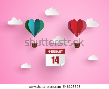 Illustration of love and valentine day,Origami made hot air balloon in a heart shape with massage 14 february floating on the sky.paper art and digital craft style.