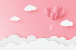 illustration of love and valentine day. paper heart balloon flying on the pink sky. For valentine's day, birthday, invitation, greeting card, posters and wallpaper. Vector illustration.