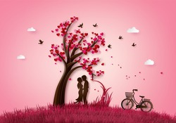 illustration  of love and valentine day two enamored under a love tree,paper 3d from digital craft.