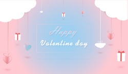 Illustration of love and valentine day, Wedding photo , heart float on the sky ,Blue background , paper art and digital craft style , and space for your messages