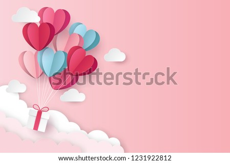 illustration of love and valentine day with heart baloon, gift and clouds. Paper cut style. Vector illustration Stockfoto ©