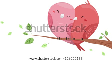 Illustration of Love Birds perched on a branch of a Tree forming a Heart-like Shape