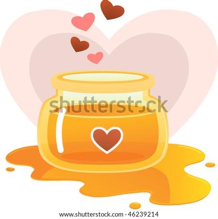 Illustration of Love honey jar - stock vector