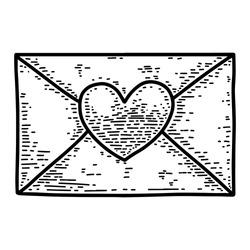 Illustration of love letter in engraving style. Design element for poster, card, banner, emblem, sign, badge. Vector illustration