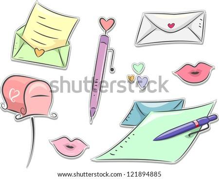 Illustration of Love Letter Sticker Design Elements