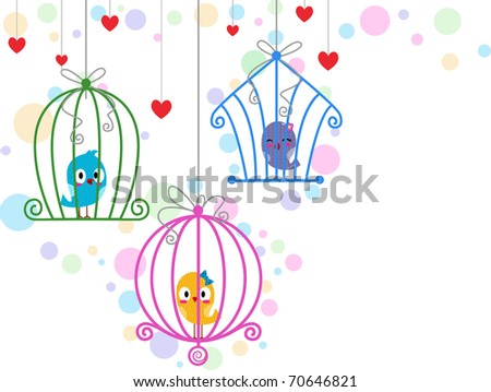 Illustration of Lovebirds in Different Cages - stock vector