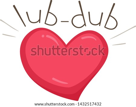 Illustration of Lub Dub Sound and a Beating Heart. Learning Onomatopoeia Zdjęcia stock ©