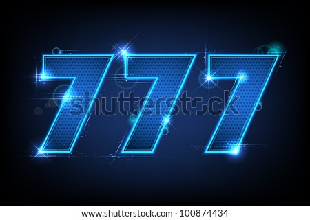 illustration of lucky triple seven jackpot on abstract background