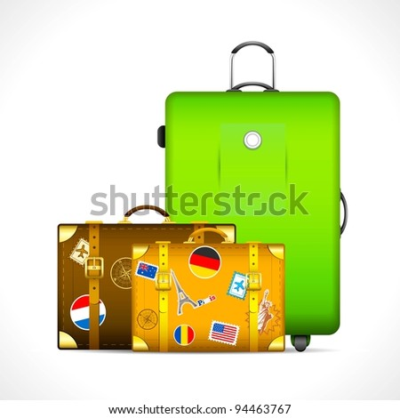 illustration of luggage with different country stamp sticker on them