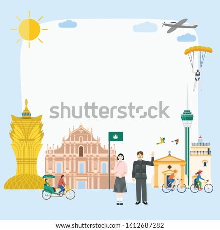 Illustration of Macau landmark and icons banner, Vector Stok fotoğraf ©