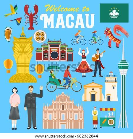 Illustration of Macau landmark and icons, Vector Stok fotoğraf ©