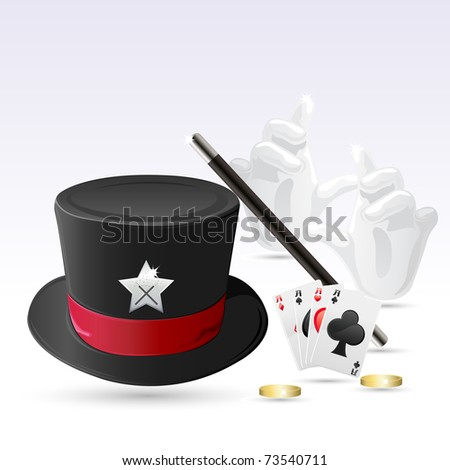 illustration of magic hat with magic wand, hand and cards