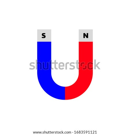 Illustration of magnetic north and south pole magnets. Sign of magnetic attraction between the north and south pole. The north pole magnet is red while the south pole magnet is blue.