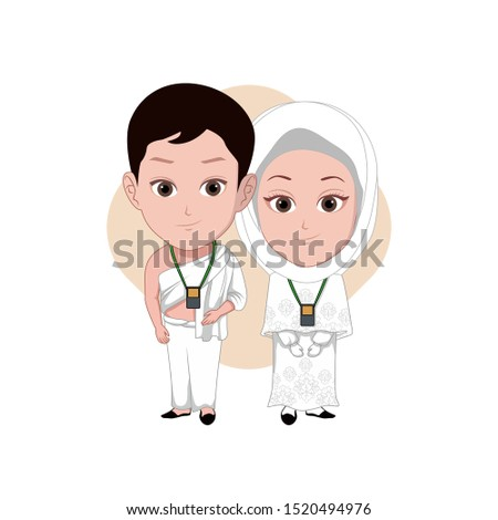 illustration of male and female characters wearing Islamic clothes performing the Hajj. Vector cartoons that can be used to caricature templates with plain backgrounds.