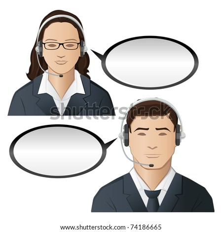 illustration of male and female executive of call center
