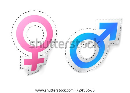 illustration of male female symbol sticker on isolated background - stock vector