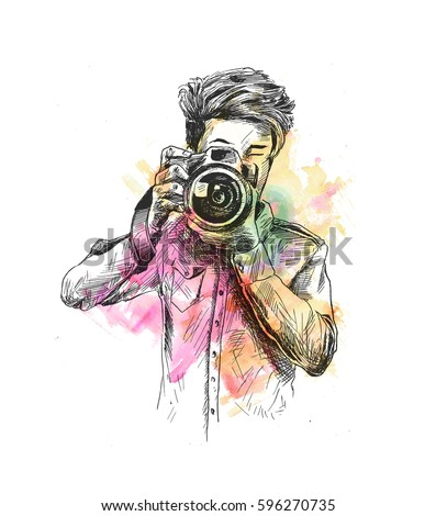 Illustration of Male Photographer With Camera, Hand Drawn Sketch Vector.