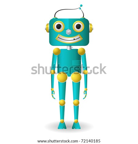 illustration of male robot standing on isolated background
