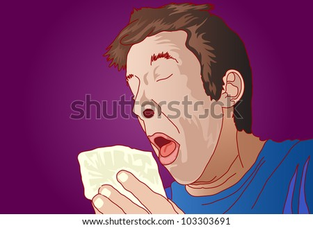 illustration of man have sneezing holding white tissue