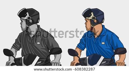illustration of man riding