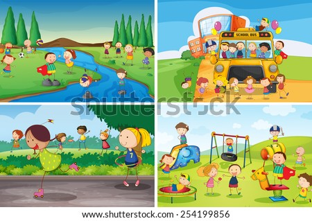 Illustration Of Many Children Playing In The Park