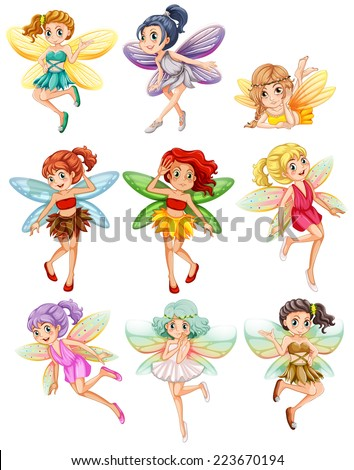 illustration of many fairies