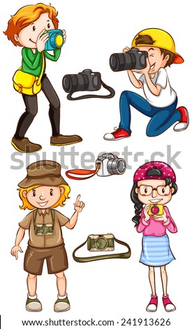 Постер, плакат: Illustration of many photographers, холст на подрамнике