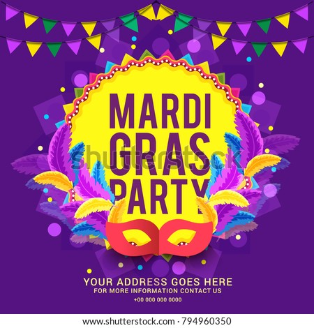 Illustration Of Mardi Gras Party Poster Or Banner Background.