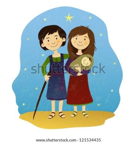 Illustration of Maria, Joseph and Jesus