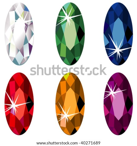 Illustration of marquise cut precious stones with sparkle isolated on white